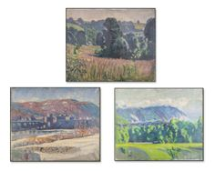 Three works by Kenneth Frazier (Am/Fr, 1867-1949)   Capo Auction   Lot 27   Landscapes. Oil on canvas. Each canvas size 25 x 30 inches. All unframed.