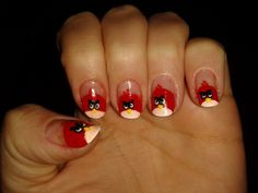 Angry birds! Oh Carter Man would love...maybe I'll do just one of my nails like this for him.