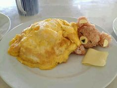 Sleepy bear,eggs and cheese