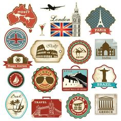 Retro Vintage Travel Suitcase Stickers - Set of 18 Luggage Decal Labels