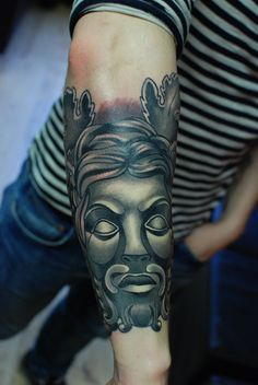 Finished Dionysus the Greek wine god by Alex Roze athammersmith tattoo, this little beauty took 2 sessions Black and Grey work with a Neo Traditional twist, part of what will eventually be a full sleeve :) x