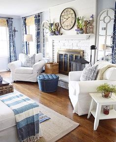 Blue Living Room Furniture Idea Beautiful Blue and White Farmhouse Living Room Decor Cottage Living Rooms, Coastal Living Rooms, Home Living Room, Living Room Furniture, Living Room Designs, Living Room Decor, Coastal Cottage, Modern Cottage Decor, White Cottage
