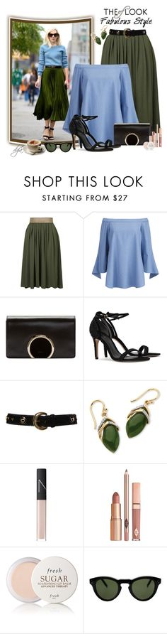 """""""Black sandals"""" by dgia ❤ liked on Polyvore featuring Topshop, TIBI, Chloé, ESCADA, Palm Beach Jewelry, NARS Cosmetics, Dolce Vita, Fresh, CÉLINE and Parra"""