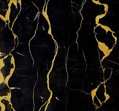 Portoro is a relatively rare marble quarried in Italy and in Corsica. It is found in France, but very sparingly. A dark black color scattered with yellow grooves. Sometimes these grooves are grey, the marble is then know as Portagent. The most beautiful Portoro is dark black with deep yellow veins, like golden flames. Its name most likely comes from the town of Porto Venere on the Genoese coast where Louis XIV exploited quarries for the decoration of Versailles.