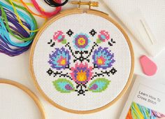 Cross Stitch For Beginners Folk Flowers by theworldinstitches