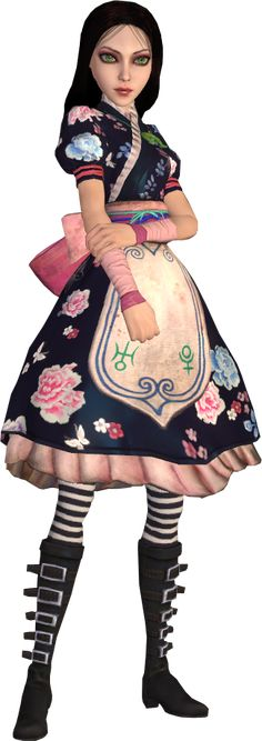 The Silk Maiden dress is Alice Liddell's third Wonderland dress obtained during the Oriental Grove and based around its appearance. It is mostly based on a kimono, a traditional outfit worn by natives of Japan, and lightly based on the Hanfu, a traditional clothing of the Han Chinese. The dress is made of dark blue silk and has a pale blue/pink/teal floral/butterfly pattern. The apron has no pockets but is edged with a Chinese blue pattern and sported the astronomical signs of Uranus and…