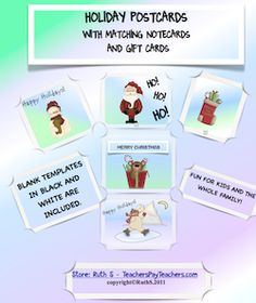 Holiday Postcards, Matching Gift Tags and Special Note Cards FREE