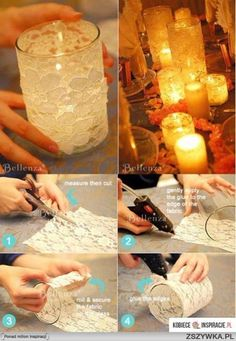 Un frasco de vidrio, forrarlo con encaje… make for reception Deco pour lampion DIY wedding centerpieces with white lace and candles Handmade handcrafted wedding details, Cute and creative DIY ideas, Whimsical wedding decorations, Wedding reception idea Mason Jar Crafts, Mason Jars, Deco Champetre, Diy Candles, Lace Candles, Bottle Candles, Candle Making, Wedding Centerpieces, Centrepieces