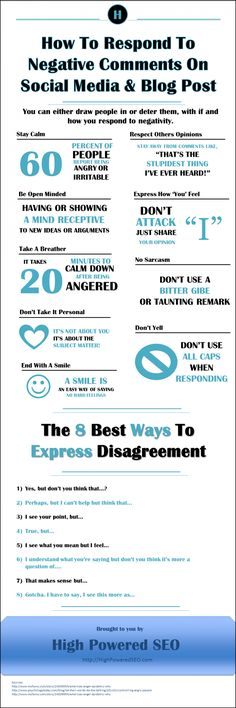 How to Respond to Negative Comments On Social Media and Blog Post --shared by thestevenjwilson on Jun 27, 2014 - See more at: http://visual.ly/how-respond-negative-comments-social-media-and-blog-post#sthash.CtaHJ2h1.dpuf