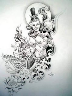 Celestial nymph love this! Tattoo Sketches, Tattoo Drawings, Body Art Tattoos, Sleeve Tattoos, Khmer Tattoo, Thai Tattoo, Cambodian Tattoo, Colouring Pics, Coloring