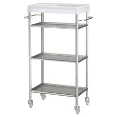 IKEA - GRUNDTAL, Trolley, stainless steel, Easy to move - castors included. Removable shelves, easy to clean. Combines with other products in the GRUNDTAL series. Bathroom Cart, Ikea Bathroom, Bathroom Furniture, Bathroom Storage, Bathroom Vanities, Downstairs Bathroom, Bar Ikea, Ikea Bar Cart, Shopping