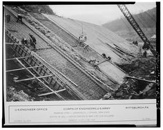 Johnstown riverwalls under construction! Photo by Corps of Engineers, U.S. Army, November 23, 1938.