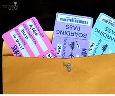 """This """"Boarding Pass"""" Printable Tickets Template is perfect for surprising a vacation or trip to a loved one and the printable tickets come in 3 colors!"""