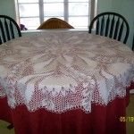 """European Knitted Lace Tablecloth, beautiful 64"""" round tablecloth handmade of 100% fine white cotton by KnittySchmitty. This project took 5 months to complete."""