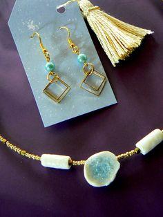 porselein + glas - juweelsetje - eigen ontwerp + handmade