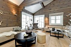 Hytte Country Modern Home, Country House Interior, Interior Walls, Interior And Exterior, Interior Design, Cottage Living, Living Room, Cabin Interiors, Cabin Plans