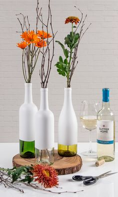 to Repurpose Your Wine Bottles as DIY Vases Decor Tip: Tap into your creative side. Turn empty wine bottles into beautiful vases.Decor Tip: Tap into your creative side. Turn empty wine bottles into beautiful vases.