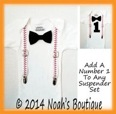Baby Boy First Birthday Baseball Theme - Baseball Outfit - Number One Shirt - Baseball Suspenders Black Bow Tie - 1st Birthday - Clothing