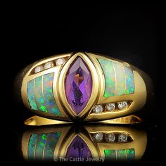 Kabana Marquise Cut Amethyst, Opal Inlays and Diamond Designer Ring in – The Castle Jewelry