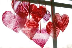 Make your own Wax Paper hearts for a valentine's day decoration.  This is a fun kids craft for the kids!