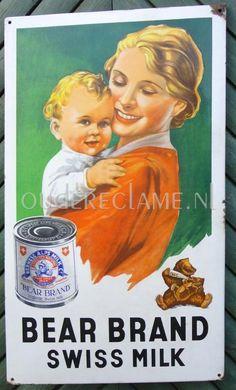 Emaille reclamebord: Bear Brand Swiss milk