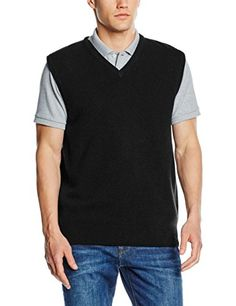 Shop Henbury Mens Sleeveless Knitted V-Neck Jumper, Navy, XL - Chest Free delivery and returns on eligible orders. Mens Jumpers, Polo Shirt, Polo Ralph Lauren, V Neck, Navy, Amazon, Mens Tops, Shirts, Black