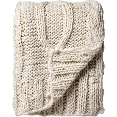 Bloomingville Knitted Throw - Cream ($100) ❤ liked on Polyvore featuring home, bed & bath, bedding, blankets, fillers, other, cream throw blanket, ivory throw blanket, off white bedding and beige bedding