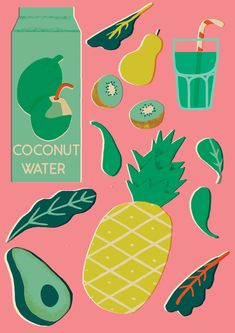 If like me you're a total January cliche and you're trying to be healthy here's my ' smug pina colada' recipe. whizz up pineapple (or pineapple juice), a handful of greens (kale, spinach, chard ) ,. Fruit Illustration, Photo Illustration, Graphic Illustration, Juice Packaging, Posca, Illustrations And Posters, Coconut Water, Food Art, Screen Printing