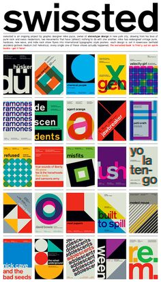 swissted is an ongoing project by graphic designer Mike Joyce… combining his love of punk rock and Swiss modernism | April 2013 Typography Poster Design, Typographic Poster, Graphic Design Posters, Graphic Design Inspiration, Game Design, Design Food, Book Design, Web Design, Art Illustration Vintage
