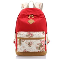 Popular 2016 Trend! Floral Designer Print Color-Block Durable High-Quality Large-Capacity Backpack 10 Colors