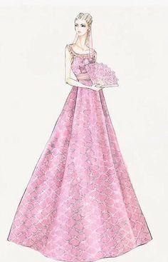 "Jacqueline Durran design sketch for Princess Kitty's Pink Gown - ""Anna Karenina"" (2012)"