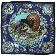 "#Hermes dedicated to #Texas #wildlife #wild #turkeys #silkscarfs #Rare #Silk ""#Faune et #Flore du #Texas "" by Kermit Oliver 