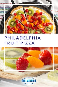 Take your pizza game to a new level with this philadelphia fruit pizza. start with a sugar cookie crust, layer it with creamy philadelphia cream cheese Healthy Recipes, Fruit Recipes, Appetizer Recipes, Healthy Snacks, Dessert Recipes, Cooking Recipes, Recipies, Appetizers, Kiwi