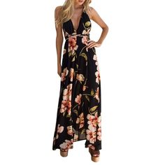 Sexy Women Deep V-Neck Long Beach Sundress Summer Ladies Floral Printed  Backless Casual Maxi Party Dresses e52bc9768cf6