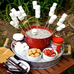 """Outdoor Party - S'MORES BAR *  For the camping party theme, add some fun of Nutella (chocolate and hazelnut spread) sliced strawberries coconut toasted marshmallows and peanut butter.""""  Soak wooden skewers in water for 30 minutes.   (Click for details - see Martie's story.)"""
