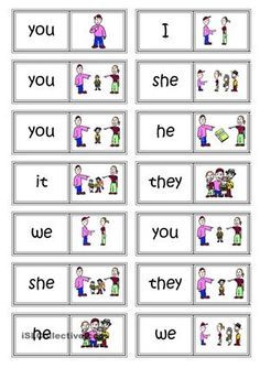 A set of 14 dominoes to practice subject pronouns (I, we, you (sg & pl), they, he, she, it). <br /> Coloured & BW versions. - ESL worksheets