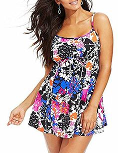 159a9bcd2a3 Swim Solutions Women s Floral-Printed Swimdress at Amazon Women s Clothing  store