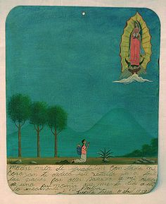 Retablo from Mexico  Hand-painted exvoto on tin to the Virgin of Guadalupe for returning a son to health from pneumonia 14, April 1959