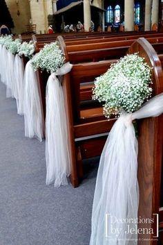 church wedding decorations babys breath decor decorationsbyjelena #Weddingsplanner