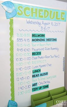 To Create A Simple Schedule Your Students Will Love Consistent schedule displayed on classroom board.Consistent schedule displayed on classroom board. Classroom Schedule, Classroom Board, 5th Grade Classroom, Classroom Design, Future Classroom, Classroom Decor, Year 3 Classroom Ideas, Class Schedule, Classroom Whiteboard Organization