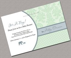 Baby Boy Shower Invitations Printable, Green, Blue, Damask - 817. $13.50, via Etsy.