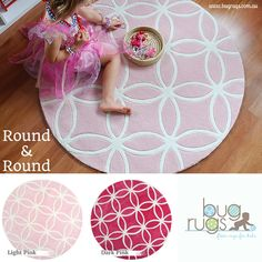 Round & Round Kids Rug in two gorgeous shades of pink from BugRugs.  These girl's rugs are simply stunning on the floor!  The round pattern of this children's rug is accented by the round shape of the rug - a stunning design!  The light pink shade is classic girl and the bright pink is a lovely alternative for a girl's space.  Perfect for nurseries, bedrooms and playrooms.