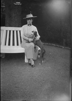 Queen Maud and dog...from Alexander Palace