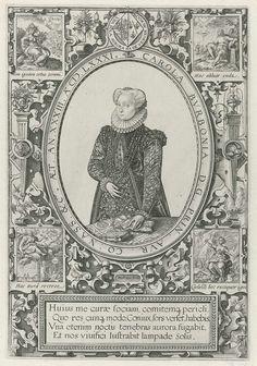 Hendrick Goltzius   Portret van Charlotte van Bourbon, Hendrick Goltzius, 1581   Portret van Charlotte in een ovaal met randschrift. In een kader vier regels Latijnse tekst.  In de vier hoeken een Bijbelse scene.