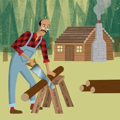 Retro illustration / Animation - man sawing log with cosy cabin in background.