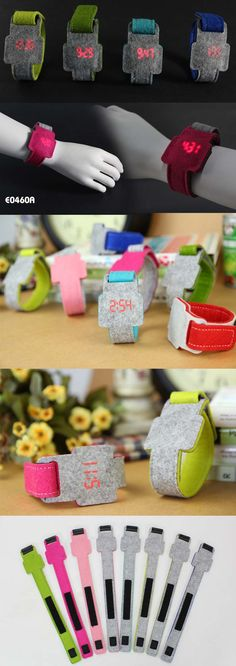 Felt Watch  Features:             * With velcro closer            * Material: felt  (Eco-friendly material )             * Battery: CR2016*1(included)            * Unit size: 25.2*4.5CM             * logo optional:  printing,  laser cut,  engraved, Woven label www.ideagroupigm.com