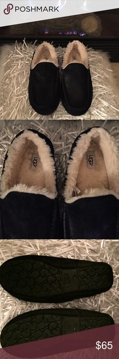 Men's UGG Slippers Black suede Loafer Slippers. Listed as an 11, but feel more like a size 10, so I am listing as a 10. Bought at Nordstroms. Worn one time at home with socks. Can be worn outdoors as well as indoors. UGG Shoes Loafers & Slip-Ons