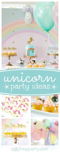 Take a look at this magical Unicorn birthday party! The cookies are gorgeous!! See more party ideas and share yours at CatchMyParty.com