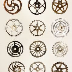 Vintage Bicycle Sprockets. A collection of 12 vintage and antique bicycle sprockets. ranging in size between 7 and 8 1/2'.