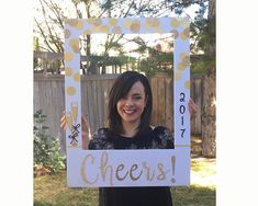 New Year's Party photo booth prop // giant picture frame for photo booth // confetti, champagne, 2017, cheers